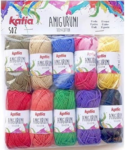 Katia - Mini ovillos de lana de algodón para Amigurumis, color S01 ...