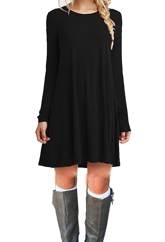 TOPONSKY Women's Casual Plain Long Sleeve Simple T-shirt Loose Dress Black Medium by TOPONSKY