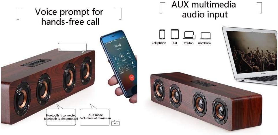 Color : B Altoparlante Bluetooth,3000Mah Batteria al Litio Creativo Home Audio for Computer Mobile TV, 12W Suono Stereo Retro Wooden Cassa Bluetooth A Mani Libere di Chiamata