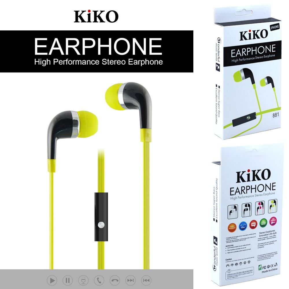 KIKO Wholesale Lots of 16 Stereo Hands-free In-Ear Earphones with Microphone, 3.5 mm Flat Wired + Noise Isolating Sports Earbuds For iPhone, iPad, Samsung, Tablet, MP3 Players & PC (Green)