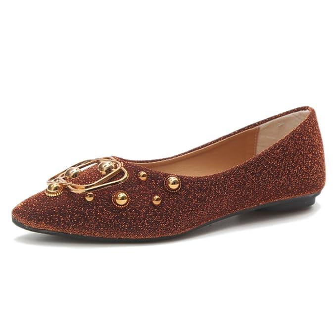 ... Plana De Fashion Square Mocasines Ligeros Zapatos Slip-On Boat Metal Para Ir De Fiesta Sandalias De Compras,Brown-40: Amazon.es: Ropa y accesorios