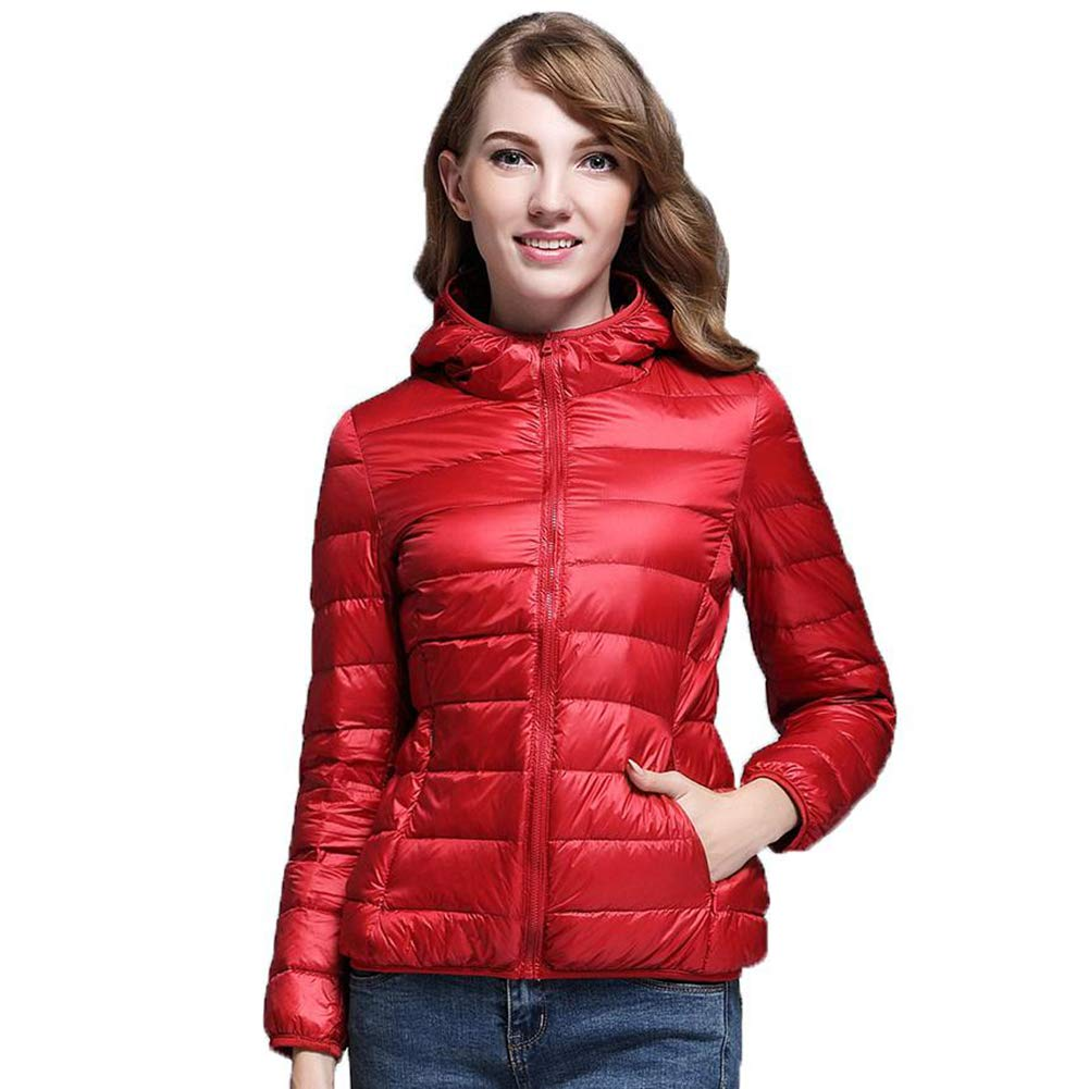 Red Casual 90% Ultra Light White Duck Down Jacket Women Winter Warm Coat Lady Jackets Female Hooded Parka