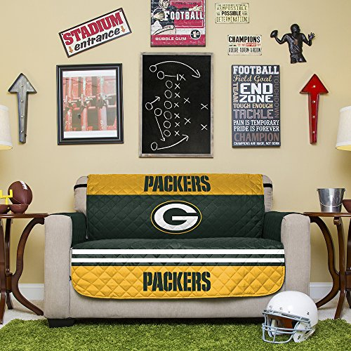 NFL Green Bay Packers Love Seat Reversible Furniture Protector with Elastic Straps, 75-inches by 88-inches