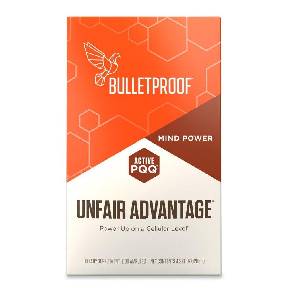 Bulletproof Unfair Advantage, Brain Octane MCT, PQQ, CoQ10, for Clean Clear Energy, Power Up on a Cellular Level (30 Ampules)