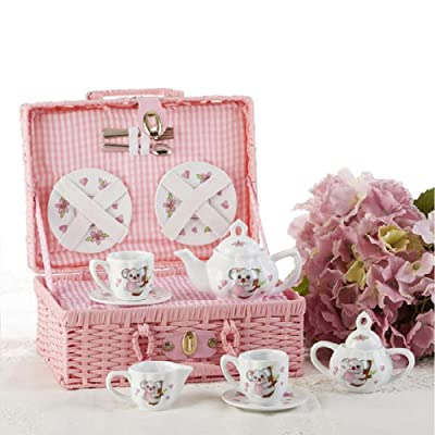 Delton Product Porcelain Tea Set in Basket Koala Kitchenware: Toys & Games