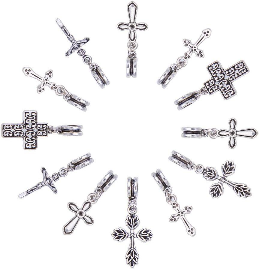 NBEADS Cruz Dangle Europea de aleación de Estilo Tibetano Cuentas de Mezcla, Perlas de Gran Agujero, Plata Antigua, 30- 35x 11- 17mm, Agujero: 5mm