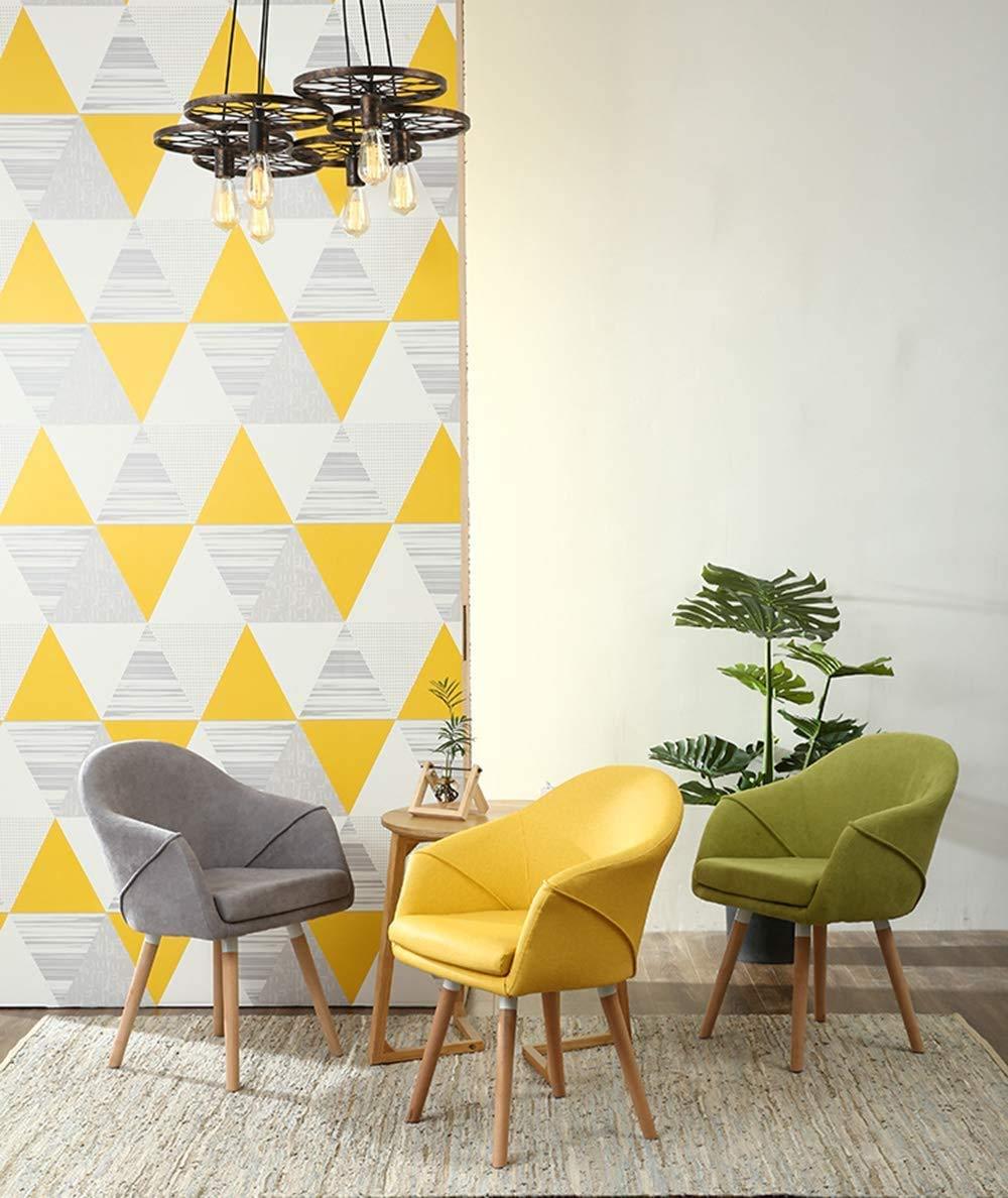 LQ träköksstol, matstol, moderna vardagliga möbler, bekväm linnebaksida, böjd armstöd, avtagbar tvättkudde (färg: Grön) Grått