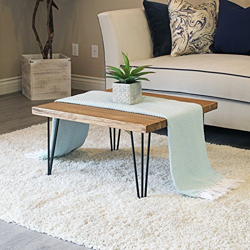 WELLAND Rustic Square Old Elm Coffee Table Unfinished - Solid Wood Square Table