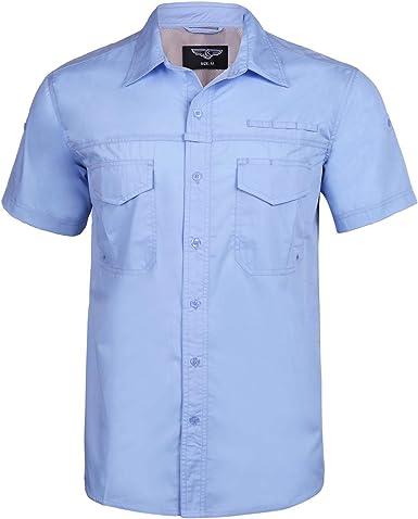 iClosam Camisas de Manga Corta para Hombre Mezcla de algodón Camisa con Botones Color sólido con Bolsillo para Trabajo al Aire Libre Viaje de Vela: Amazon.es: Ropa y accesorios