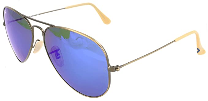 Ray-Ban Aviator Sunglasses in Matte Gold Blue Mirror - RB3025 112/17 58 RB3025 112/17 58