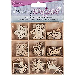Finishing Accents 23464 Christmas Theme Mini Laser Cuts Wood Shapes, Multicolor