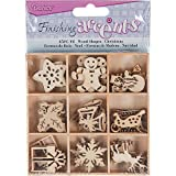 Finishing Accents Mini Laser Cuts Wood Shapes  Holiday Theme - 45 pieces