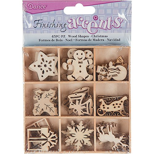 Finishing Accents 23464 Mini Laser Cuts Wood Shapes, Christmas Theme, 45 Pieces, Multicolor