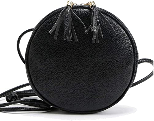 Black White Stripes Pattern Crossbody Bags For Women//Girl Round Leather Zipper Shoulder Bag Circle Cell Phone Purse Satchel Handbag With Adjustable Strap