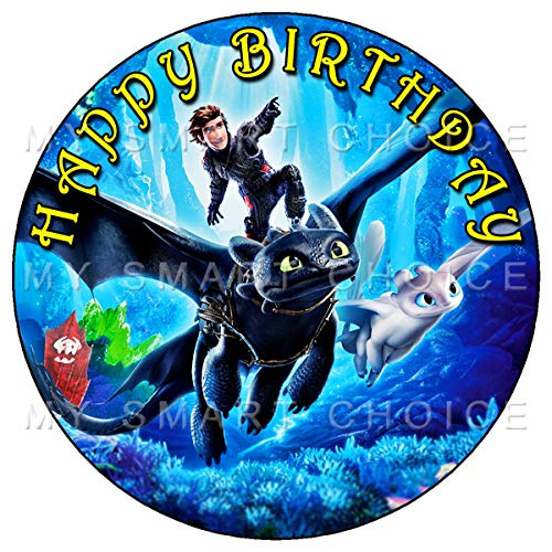 7.5 Inch Edible Cake Toppers – HOW TO TRAIN YOUR DRAGON Themed Birthday Party Collection of Edible Cake -