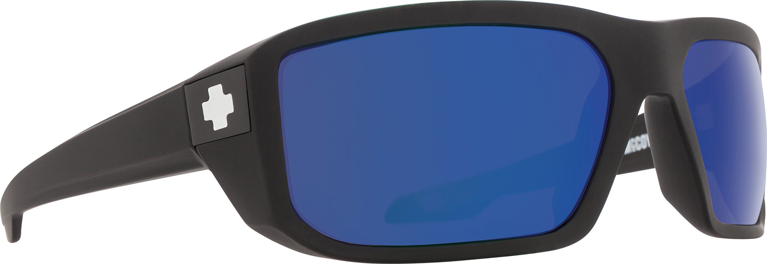 Spy Optic Men's Mccoy Polarized Wrap, Matte Black/Happy Bronze Polar & Blue Spectra 63 mm