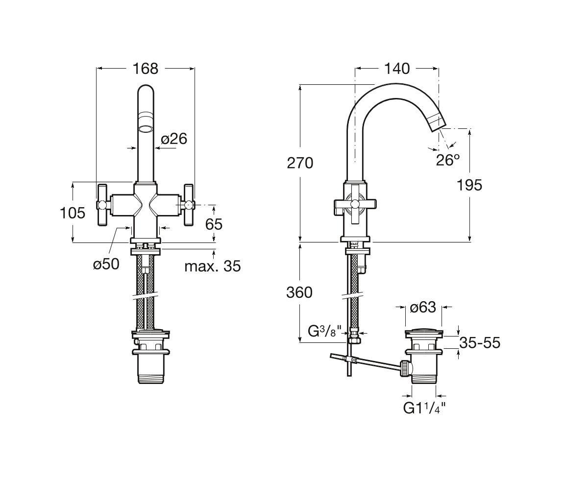 Roca A5A3043C00 Loft Mezclador bimando para lavabo con desag/üe autom/ático y enlaces de alimentaci/ón flexibles