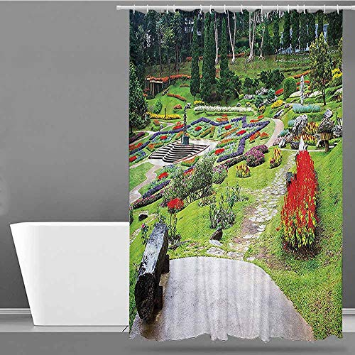 XXANS Home Decor Shower Curtain,Country Home Decor Collection,Art Print Polyester,W72x72L Lilac Red Green