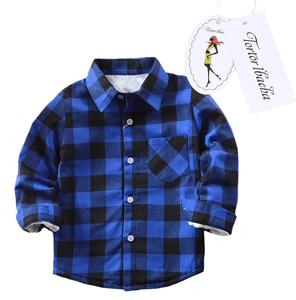Little Girls' Long Sleeve Button Down Plaid Shirt Fleece Lined Blue Black 6 Tortor 1bacha ZHSJ-E005-US-JR-140