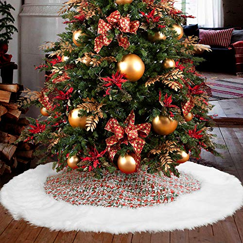 "MACTING 48 Inches Christmas Poinsettia Flowers Christmas Tree Skirt, White Plush Faux Fur Edges Classic Double Layer Xmas Tree Skirts for Christmas Tree Holiday Home Decorations (48"") from MACTING"