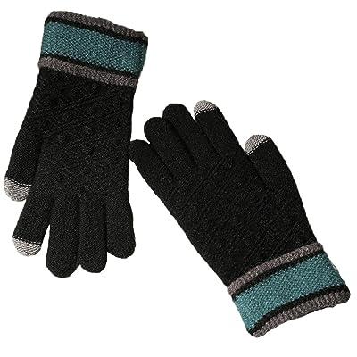 Demarkt 1 Paire Femme et Homme Gants Chauffants d'hiver Tricotés Plein-Doigt Gants à écran Tactile avec pour Unisexe Ski Vélo Randonnée Sports Coupe-vent Gloves Noir