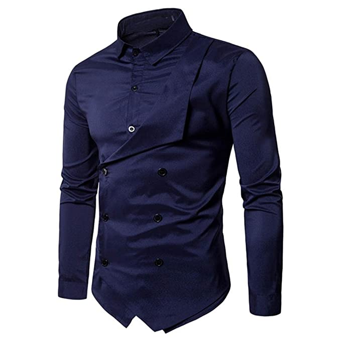 Amazon.com: Hombre Fancy camisa, para hombre camisas doble ...