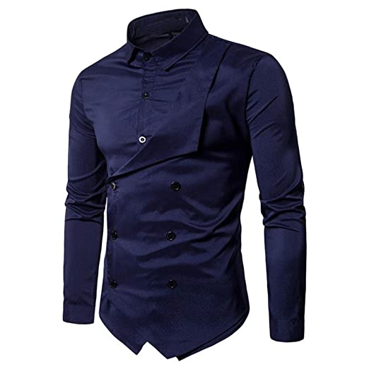 dde0df1e6e WM & MW Men Fancy Shirt, Mens Shirts Double-Breasted Lapel Long ...