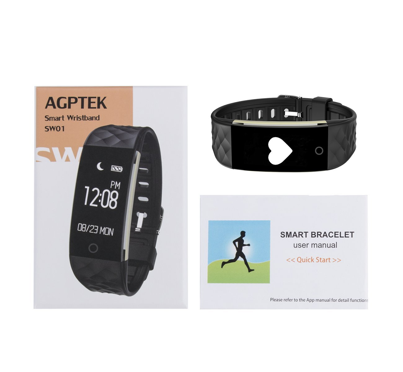 AGPTEK Fitness Tracker Watch, Heart Rate Monitor Activity Wristband Pedometer Sleep Monitor Waterproof Bluetooth Smart Band for iPhone Android Phones, ...