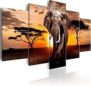 "Wild Elephant at Sunset Wall Art Canvas Print Beige Animal Walking on African Plains Painting Picture Artwork for Living Room Decor, Framed 40"" W x 20"" H"