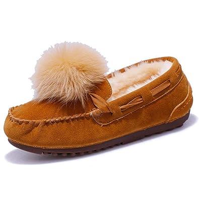 Invierno Mujer Tacones Bajos Mocasines De Piel De Peluche Antideslizante En Flock Flats Bola Bola De Pelo Mocasines Calientes Zapatos De Las SeñOras del ...