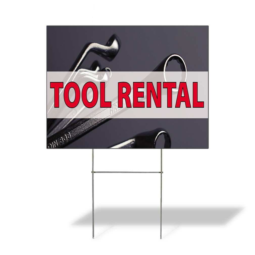 Tool Rental #1 Outdoor Lawn Decoration Corrugated Plastic Yard Sign - 12inx18in, Free Stakes