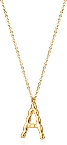 Hammered P Initial Pendant Necklace