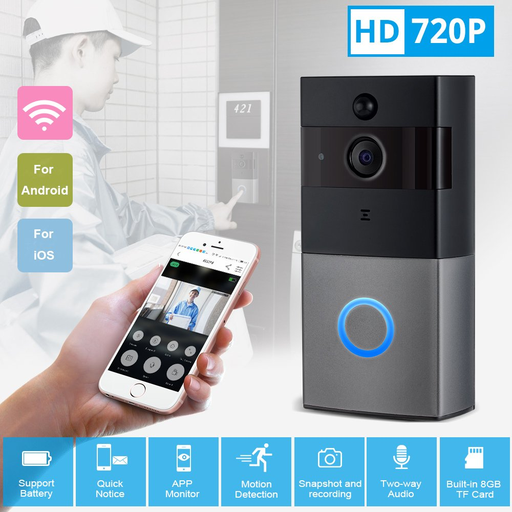 Mbangde Wireless Video Doorbell, Smart Wi-Fi Video Door bell with Motion Detection, Night Vision Infrared LEDs, Two-way Audio for IOS and Android App, with 32G Strorage by Mbangde (Image #3)