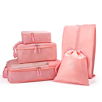 Funria 5 Set de Organizador de Equipaje, Organizadores para maletas Impermeable Organizador de Maleta Bolsa para Ropa de Viaje, Material Nylon ...