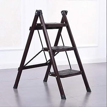 AFDK Escalera de hierro de 3 escalones Escalera plegable para el hogar Escalera de aislamiento Escaleras multifunción Escalera plegable Escalera portátil de un solo lado,marrón: Amazon.es: Bricolaje y herramientas