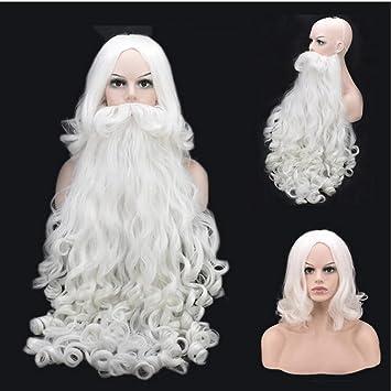 Santa Claus Beard Full Set High White Old Man Beard Christmas Women s Wig 51aac1d6a