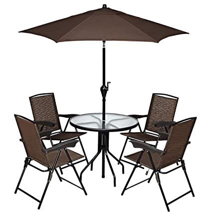 Awesome Goplus Bistro Set Patio Table 4 Sling Chairs Umbrella Commercial Party Event Furniture Conversation Coffee Table For Backyard Lawn Balcony Pool Pdpeps Interior Chair Design Pdpepsorg