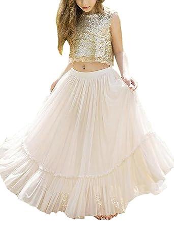 a39e4920b2d55 MuchXi Kids Girls  Sequined Party Bridesmaid 2 Piece Flower Girl Dress Gold  2