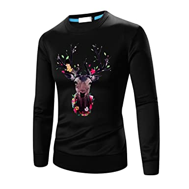 2938ca5cb6eff5 Mens Long Sleeve Shirts,Moonuy Boy Men Floral Print Sports Gym Running Yoga Workout  Leggings Winetr Autumn Summer T-Shirt Casual Handsome New Cool T-Shirt ...