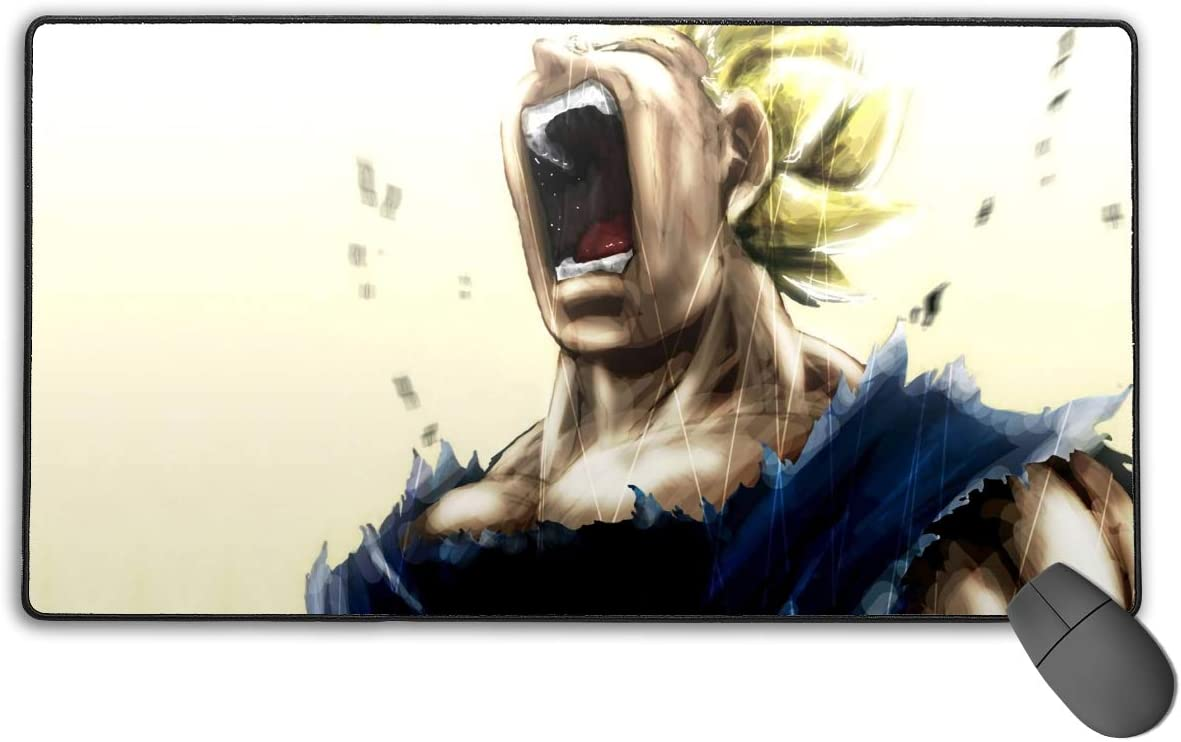 75x40 cm Dragon Ball Super-Vegeta Howl Non-Slip Mouse Pad Rectangle Rubber Anime Mouse Pad Gaming Mouse Pad 30x15.7 Inch