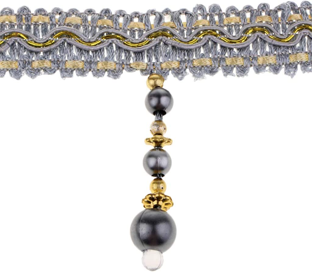 IPOTCH 12m Perlen Fransenborte Quastenborte B Posamentenborte Quasten Dekoborte mit Troddeln Vorhangborte Breite 7,5 cm