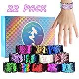 KUUQA 22 Pcs Magic Sequin Mermaid Bracelets 2-Color Reversible Sequins Glitter Slap Bracelets Wristbands for Kids Little Mermaid Birthday Party Favors Bags Supplies (Random Colors)