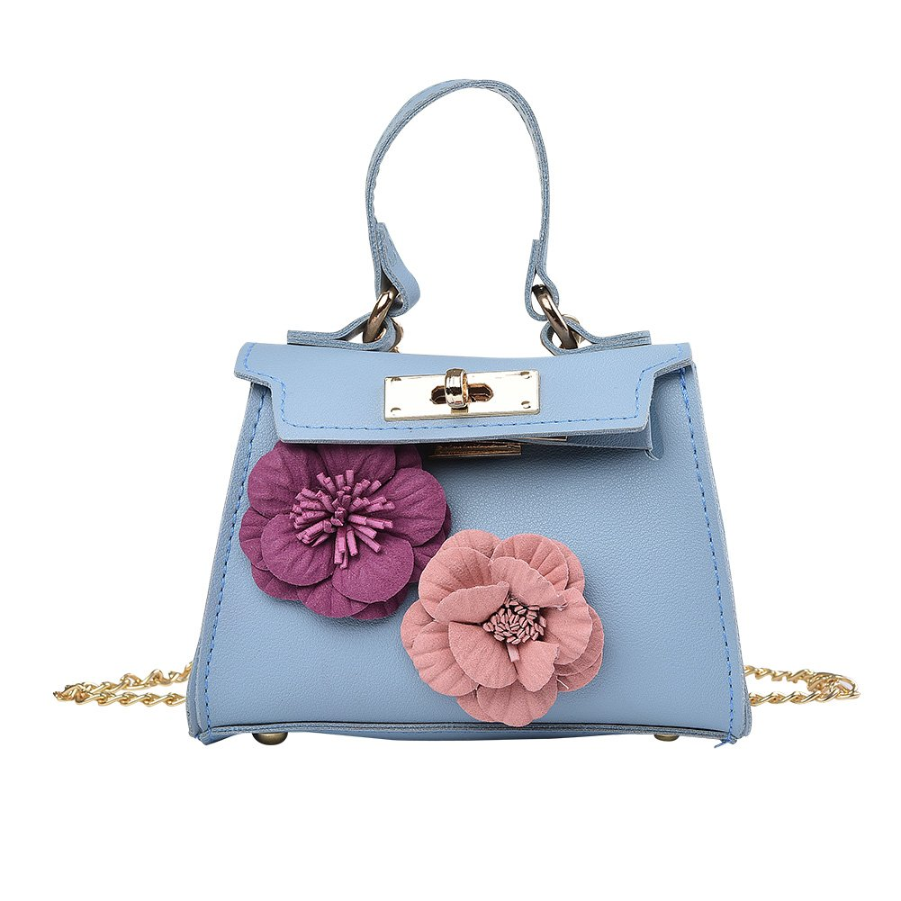 Cute Animal Face small size little girl crossbody shoulder bag. Pu Faux Leather travel Bag for Kids, Teens Collection(flower blue)