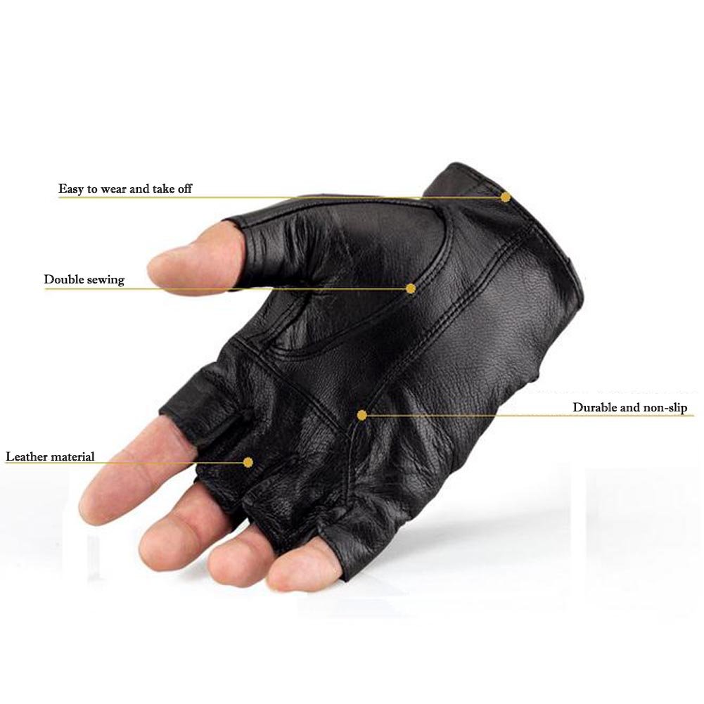 K-mover Half Finger Leather Gloves Fingerless Street Dance Glove Cycling Gloves Universal Fit One Size by K-mover (Image #5)