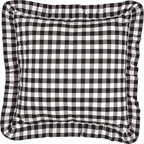 VHC Brands Classic Country Farmhouse Bedding - Annie Buffalo Check White Fabric Euro Sham, Black