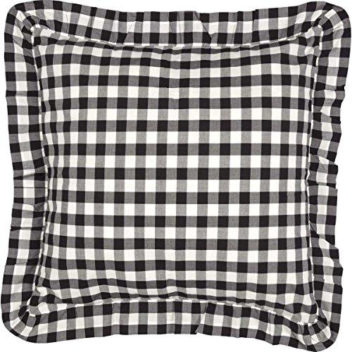 VHC Brands Classic Country Farmhouse Bedding - Annie Buffalo Check White Fabric Euro Sham, Black Contemporary Euro Pillow Sham