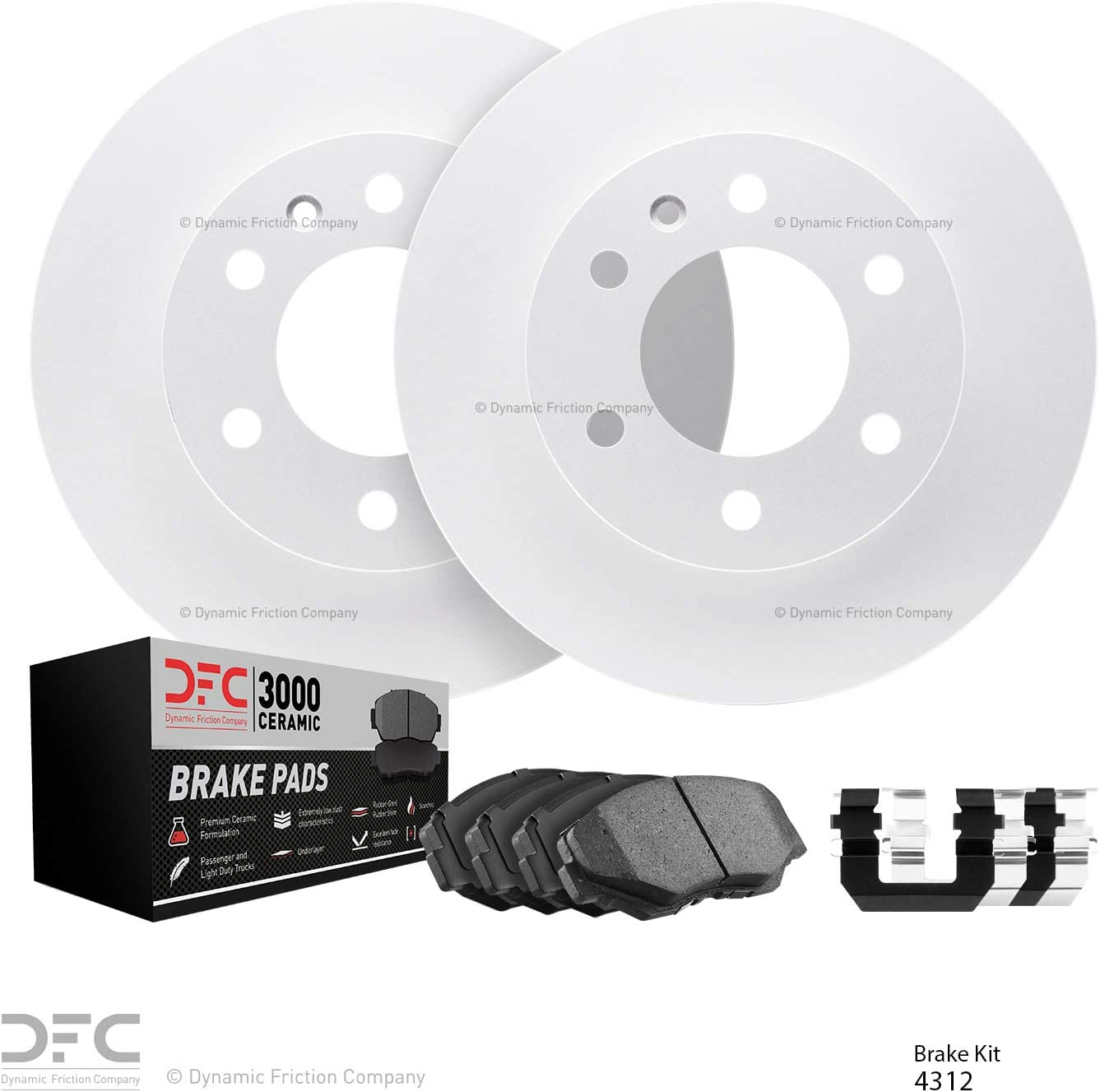 Front DFC GEOSPEC Brake Rotors with 3000 Ceramic Brake Pads and Hardware