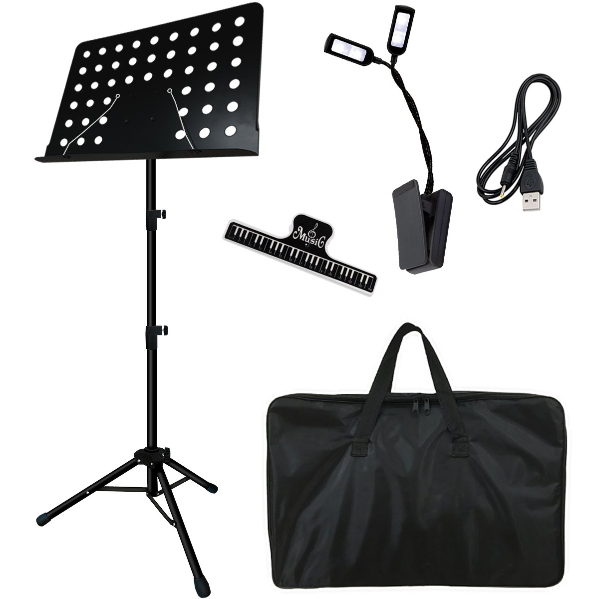 Music Stand, Kasonic Professional Collapsible Music Stand for Music Sheet, Instrument Books with LED light, Paper Holder and Carrying Bag Perfect for Instrumental Performance