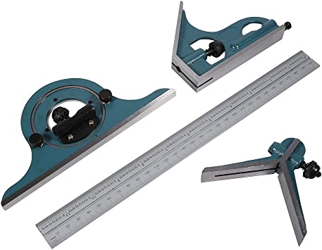Precision Beveled Protractor Set with Case for Drafting or Machining Layouts