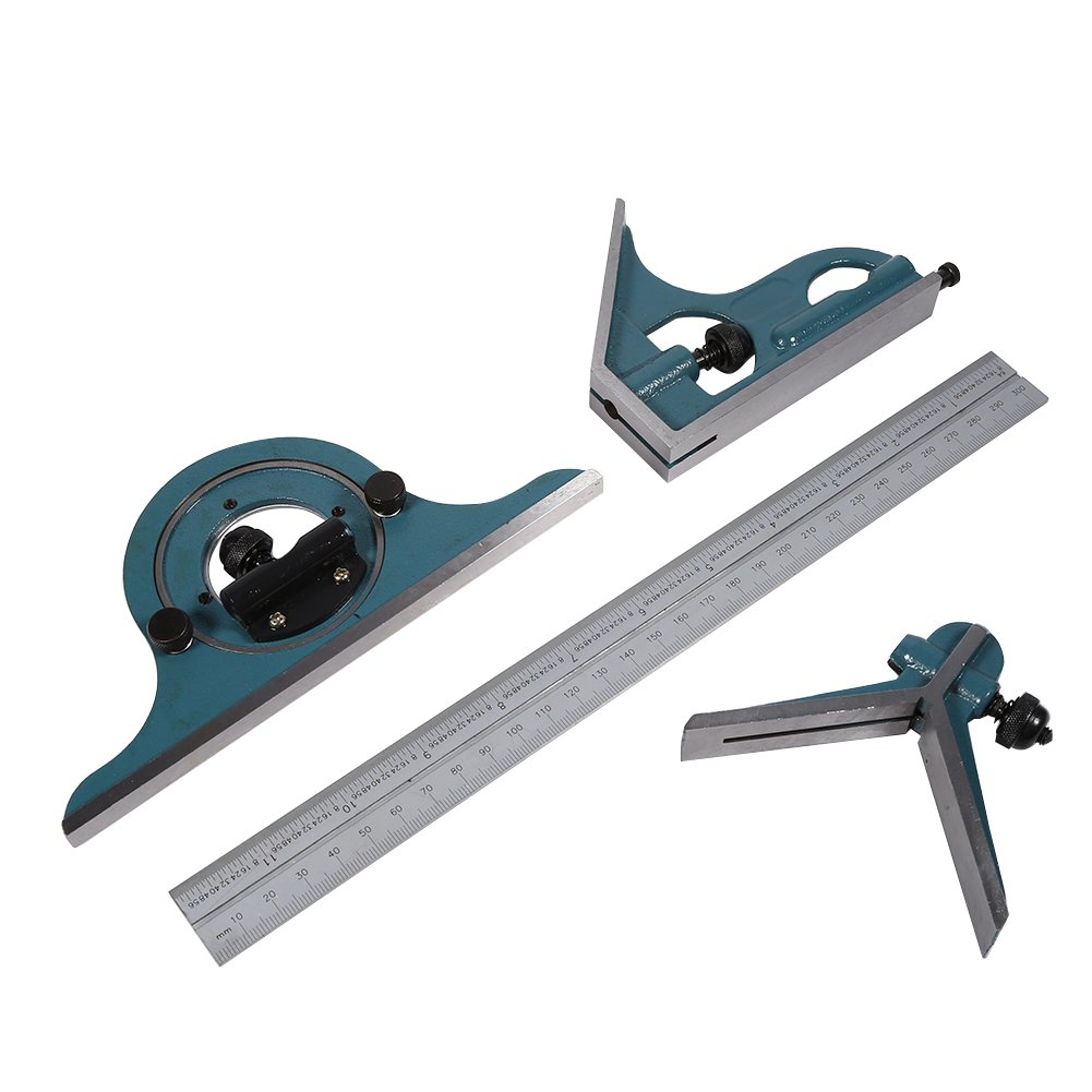 Combination Square Set, Stainless Steel Universal Bevel 180 Degree Angle Combination Square Protractor Ruler Set
